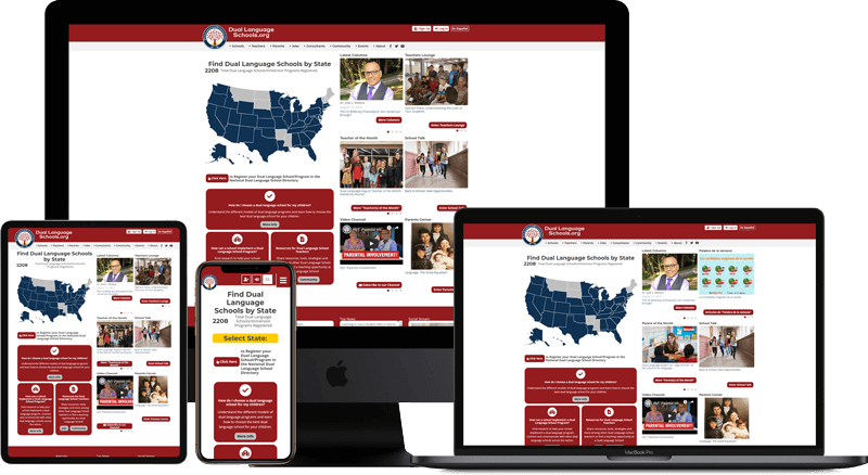 Web Application of duallanguageschools.org on multiple screens