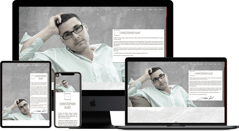 Web Application of actorchristopherhunt.com on multiple screens